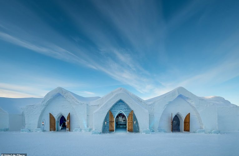 The 2021 version of the Canadian ice hotel in Quebec features 15 themed suites and a large slide