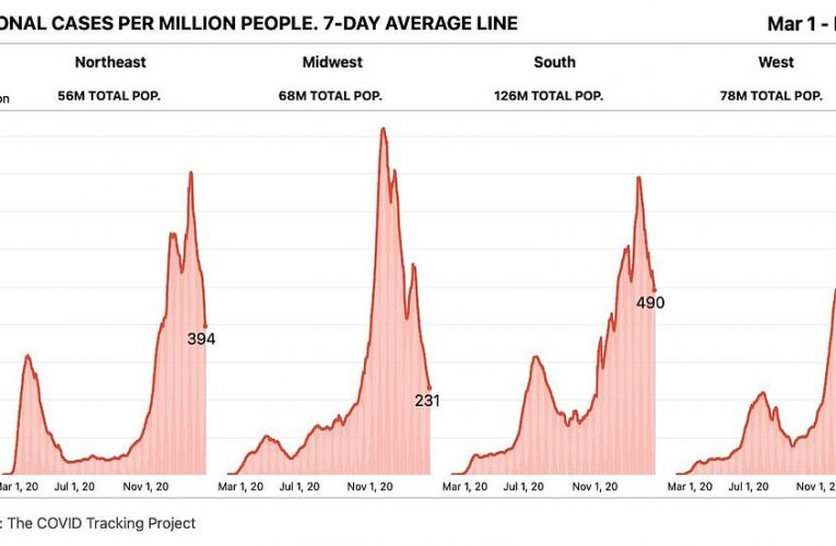 COVID cases in the Midwest drop to a QUARTER of the seven-day average at its peak